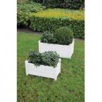 Wooden Rectangular Trough Garden Planters in Cream (Set of 2) by Fallen Fruits