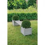 Wooden Garden Bench with Planters in Grey by Fallen Fruits