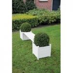 Wooden Garden Bench with Planters in Cream by Fallen Fruits