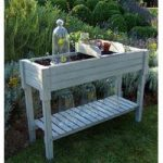 Kitchen Garden Wooden Potting Table in Grey by Fallen Fruits
