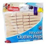 30 Pack Wooden Clothes Pegs by Kingfisher