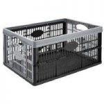 Set of 10 – Kingfisher 32 Litre Fold Flat Storage Crate – Black and Silver