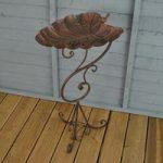Ornate Leaf Pedestal Metal Bird Bath by Gardman