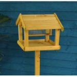 Premium Free Standing Wooden Bird Table with Built in Nut Feeder by Kingfisher