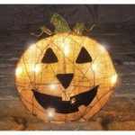 Linen Halloween Pumpkin Decoration with Lights
