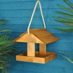 Hebble Wooden Hanging Bird Feeder Table by Tom Chambers