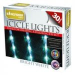 30 LED White Multi Action Icicle String Lights (Mains) by Kingfisher