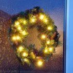Festive Christmas Pre-Lit Wreath – 40cm with 20 LEDs