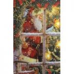 Christmas Santa With Tree LED Canvas Pre Lit Decoration