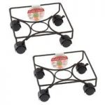 Pair of Square Metal Plant Caddy Pot Movers (25cm) by Gardman