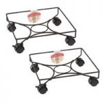 Pair of Square Metal Plant Caddy Pot Movers (33cm) by Gardman
