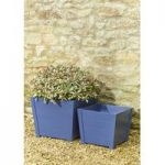 Wooden Square Planters in Navy (Set of Two) by Rustic Garden