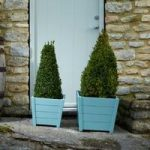Wooden Square Planters in Blue (Set of Two) by Rustic Garden