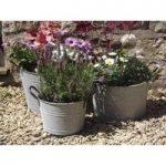 Aged Zinc Buckets (Set of 3) by Rustic Garden