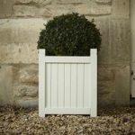 Hardwood Square Garden Planter in Bone by Rustic Garden