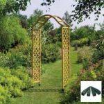 Elegance Wooden Garden Arch (Tan) with Ground Spikes by Gardman