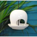 Ceramic Round Seed and Nut Bird Feeder in White by Fallen Fruits