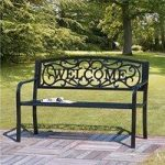 Welcome Black Cast Iron Garden Bench by Suntime