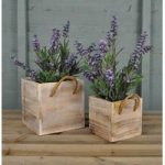 Wooden Square Planters Whitewashed (Set of Two) by Rustic Garden
