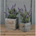 Wooden Square Planters Blue Washed (Set of Two) by Rustic Garden