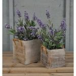 Wooden Square Planters Grey Washed (Set of Two) by Rustic Garden