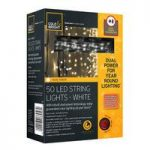 50 LED White String Lights (Dual Power Solar and Battery) by Gardman