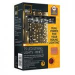75 LED White String Lights (Dual Power Solar and Battery) by Gardman
