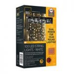 100 LED White String Lights (Dual Power Solar and Battery) by Gardman