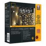 200 LED White String Lights (Dual Power Solar and Battery) by Gardman