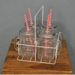 Set of 4 Vintage Retro Glass Mugs in a Crate