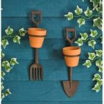 Spade and Fork Mini Plant Pot Holders in Cast Iron by Fallen Fruits
