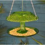 Hobnail Coloured Glass Round Hanging Bird Feeder with Roof by Fallen Fruits