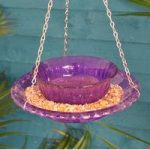 Hobnail Coloured Glass Round Hanging Bird Feeder and Bath by Fallen Fruits