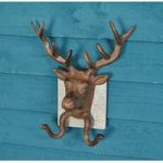 Cast Iron Wall Mounted Stag Head Wall Hooks with Slate Mount by Fallen Fruits