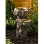 Treetrunk Bird Bath Fountain Outdoor Water Feature (Solar) by Smart Solar