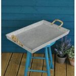 Zinc Outdoor Serving Tray with Rope Handles by Fallen Fruits