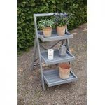 Wooden Stepped Plant Stand in Grey by Fallen Fruits