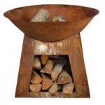 Weathered Metal Fire Bowl with Storage by Fallen Fruits
