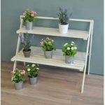 Wooden Stepped Plant Stand in Cream by Fallen Fruits