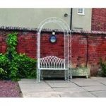 Vintage Cream Steel Metal Garden Arch with Seat by Kingfisher