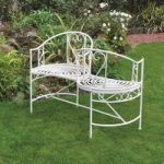 Metal Cream Vintage Kissing Chair Love Seat by Kingfisher