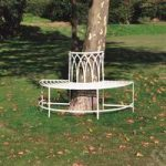 Semi Circular Metal Tree Bench in Cream by Kingfisher
