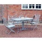 Metal Four Seasons Grey Vintage 4 Seater Garden Bench Dining Set by Kingfisher