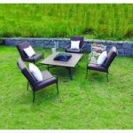 Garden Patio Furniture Set 4 Seater Mosaic Dining Set with Built in Fire Pit