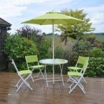 Metal and Textoline 6 Piece Lime Green Garden Furniture Set by Kingfisher