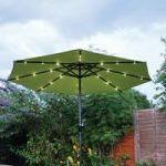 Pre-Lit Parasol (Solar Powered) in Line Green by Kingfisher